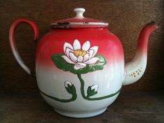 Vintage Large Red Enamel Tea Pot, with Lotus Flower. $129.00, via Etsy.