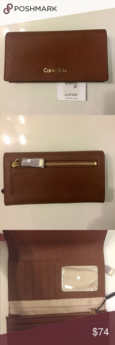 """NEW COLLECTION CALVIN KLEIN TRIFOLD WALLET NWT Calvin Klein brown Safiano leather Trifold wallet. Snap closure. Back zip pocket . One zipper compartment inside. Card , ID, cash slots. Silver tone hardware details. Measurements: 7.5"""" x4.5"""".                        PRICE IS FIRM UNLESS BUNDLED  Calvin Klein Bags Wallets"""