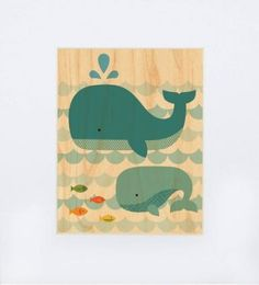 This Whale and Baby Whale wood print would look great in a child's bathroom!