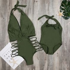 Pretty Solid Hollow Out Halter Mommy and Me Swim One Piece in Green Mom Daughter Matching Outfits, Matching Family Outfits, Mom And Baby, Mommy And Me, Cute Family, Baby Outfits Newborn, Daily Deals, Latest Fashion For Women, My Outfit