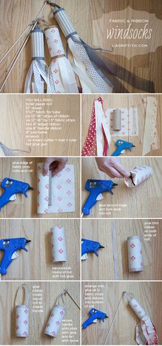 Quick + easy tutorial for these DIY vintage fabric + ribbon windsocks--perfect for the 4th of July and all summer long!  {Lisa Frank for liagriffith.com}