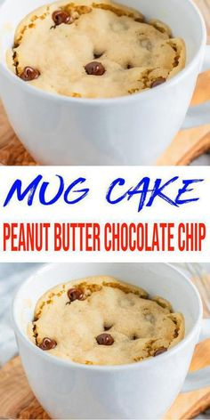 Microwave Chocolate Chip Cookie, Chocolate Chip Mug Cake, Mug Cake Microwave, Microwave Recipes, Chocolate Peanut Butter, Chocolate Chips, Best Mug Cake Recipes, Mug Recipes, Baking Recipes