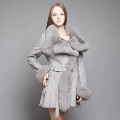 Shearling Sheepskin Coat with Fox Fur trim