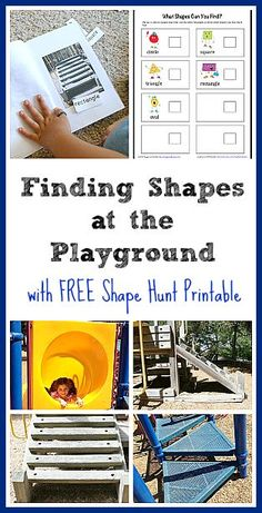 Math for Kids: Find shapes at the playground in this fun geometry activity for children! Includes free printable shape hunt checklist and directions for making your own book- a great way to incorporate literacy into this outdoor adventure! ~ BuggyandBuddy.com