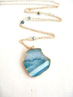 Aqua blue Agate Slice Necklace statement jewelry Long by Vitrine