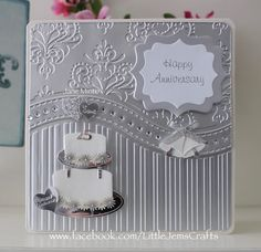 Silver 25th wedding anniversary card -made with the all occasion embossing…