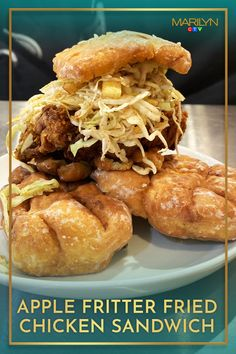 You can't go wrong with dinner and dessert in one meal! Fried Chicken Sandwich, Sriracha Sauce, Apple Fritters, Green Cabbage, Cinnamon Apples, Pulled Pork, Sandwiches, Dinner, Ethnic Recipes