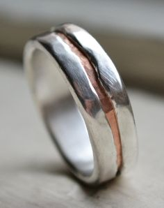 mens wedding band - rustic fine silver and copper ring - handmade artisan designed wedding or engagement band - customized Rustic Wedding Bands, Copper Wedding, Wedding Men, Wedding Rings, Wedding Ideas, Copper Rings, Copper Jewelry, Jewlery, Ring Designs