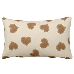 Brown Beige Textured Hearts Pattern Pillow - baby gifts child new born gift idea diy cyo special unique design