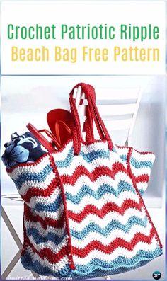 Crochet Patriotic Ripple Beach Bag Free Pattern - Crochet Handbag Free Patterns