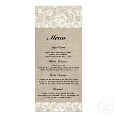 Rustic Burlap Lace Wedding Menu Rack Card Design Available at http://www.zazzle.com/rustic_burlap_lace_wedding_menu_rack_card_design-245179433965082176?rf=238505586582342524