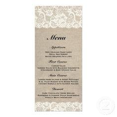 Rustic Burlap Lace Wedding Menu Rack Card Design Available at http://www.zazzle.com/rustic_burlap_lace_wedding_menu_rack_card_design-245179433965082176?rf=238505586582342524
