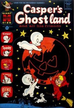 Casper's Ghostland 8 / Casper the Friendly Ghost vintage Halloween comic book cover with Wendy.