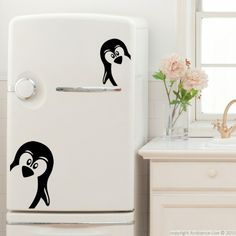 Cute penguins refrigerator decals
