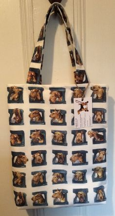 Canvas bag with Airedale art