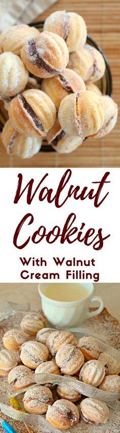 Walnut shaped cookies Best Cookie Recipes, Best Dessert Recipes, Unique Recipes, Sweet Recipes, Baking Recipes, Fancy Desserts, Köstliche Desserts, Delicious Desserts, Yummy Food