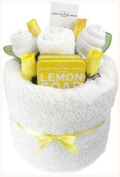 Say It Gifts Refresh Me Lemon Pamper Cake - a gorgeous pamper cake with a zingy lemon scented soap, hand and nail cream, socks and the most fluffiest white towel. A unique gift idea. Kitchen Towel Cakes, Pamper Cake, Housewarming Gift Baskets, Lemon Soap, Baby Shower Gift Basket, Cream Nails, Auction Baskets, Get Well Soon Gifts, Towel Crafts