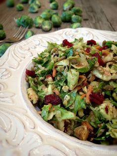 Raw Shredded Brussel Sprout Salad Recipe by Nouveau Raw - #rawsalad