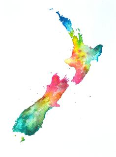 new zealand map watercolour - Google Search
