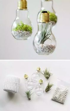 DIY projects with old light bulbs - 25 creative craft ideas DIY Projekte mit alten Glühbirnen – 25 kreative Bastelideen Craft Project Ideas: 28 DIY Home Decor Ideas on a Budget Hanging Mason Jar Lights, Mason Jar Lighting, Diy Hanging, Hanging Light Bulbs, Handmade Home Decor, Cheap Home Decor, Handmade Ideas, Creative Crafts, Diy And Crafts