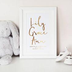 Personalised Baby Name Wall Art Foil Print - Lily Rose Co. Kids Prints, Baby Prints, Nursery Prints, Wall Art Prints, Nursery Decor, Nursery Ideas, Room Decor, Personalised Prints, Personalized Baby