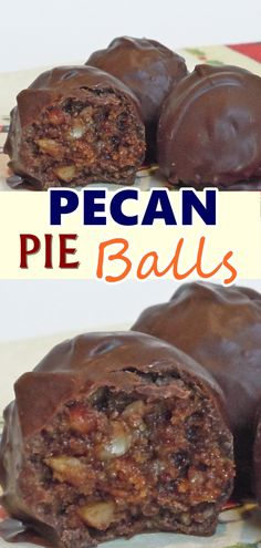 Pecan Pie Balls - Snacks and desserts - Delicious Pie Holiday Desserts, Holiday Baking, Christmas Baking, Just Desserts, Holiday Recipes, Delicious Desserts, Holiday Parties, Christmas Candy, Holiday Candy