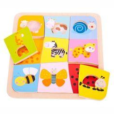 Bigjigs toys Drevené vkladacie puzzle - 9 zvieratiek
