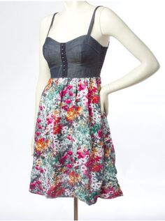 Floral Corset Dress - Casual - Dresses
