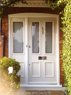 Etched glass Victorian door and frame A white, Victorian front door with two etched glass panes and two panels. The glass has been sandblasted with border-less strips. The frame is made with a fixed sash side panel - Cotswood Doors Cottage Front Doors, Victorian Front Doors, Front Door Porch, Front Doors With Windows, Double Front Doors, Wooden Front Doors, House Front Door, Painted Front Doors, External Wooden Doors