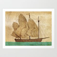 Winged Odyssey Art Print by Terry Fan - everything I love in this picture. I love this site. Society6.com