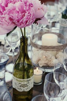 Rooftop Wine Party :: Peonies in a Wine Bottle