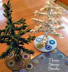 Wool Feather Trees & penny rug tree skirts