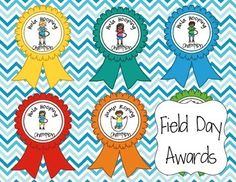 This is a set of 22 Field Day award ribbons, plus four blank ribbons to design your own, or for students to design them.  It includes the following Field day events:The Potato Sack RaceRunningHula Hooping AwardsTug of WarJump RopingSportsmanship1st, 2nd, 3rd Place Ribbons