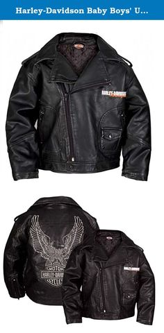 Harley-Davidson Baby Boys' Upwing Eagle Biker Pleather Jacket BLK 0366074 (12M). Harley-Davidson® Boy's Upwing Eagle Biker Jacket. Made of Laundered P.U Pleather. Quilted Polyester satin liner. Embroidered graphics on front and back. Two zippered hand-warmer pockets. Biker style collar with snaps and snap zippered bottom. Perfect for your little man to be a biker like his mom or dad!.