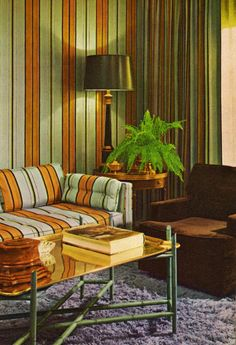 70s Livingroom orange striped couch & matching wallpaper stripe