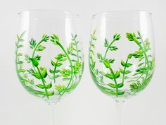 Your place to buy and sell all things handmade Painted Wood Crafts, Hand Painted, Victorian Bathroom, Non Toxic Paint, Paint Set, Ferns, Wine Glass, Artwork, Painting