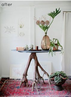 reclaimed DIY tree trunk and slate occasional table