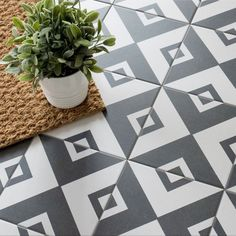 Add some Gatsby glam into your home with these Cavendish Square Tiles. They have a striking monochrome geometric pattern; perfect for a statement wall or floor. Hexagon Mosaic Tile, Mosaic Wall, Bathroom Floor Tiles, Wall And Floor Tiles, Kitchen Floor, Interior Design Shows, Victorian Tiles, Statement Wall, Tiles Texture