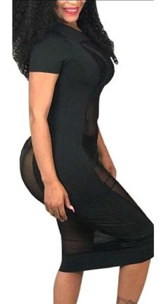 23d1951261 Jaycargogo Womens Sexy Short Sleeve Mesh See Through Bodycon Dress Black S     Check this awesome product by going to the link at the image.