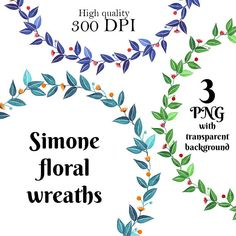 Simone Floral Wreaths decoration digital transparent high Floral Wreaths, Graphic Design, Digital, Decoration, Handmade Gifts, Etsy, Flower Crowns, Decor, Kid Craft Gifts