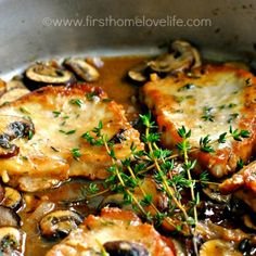 Pork Marsala with Mushrooms and Shallots Recipe Main Dishes with boneless center cut pork chops, sliced shallots, garlic cloves, crimini mushrooms, marsala wine, chicken stock, olive oil, butter, all-purpose flour, garlic powder, kosher salt, fresh thyme, dijon mustard