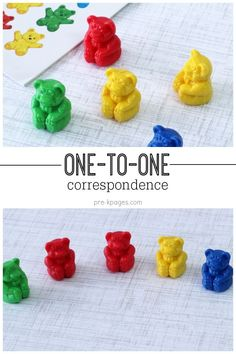 Teaching Kids to Count in Preschool and Kindergarten with One-to-One Correspondence. Help kids develop strong number sense with one-to-one counting opportunities. Spill the Bears Numbers Kindergarten, Numbers Preschool, Math Numbers, Preschool Classroom, Preschool Learning, Teaching Kids, 1 To 1 Correspondence Preschool, Classroom Ideas, Kindergarten Readiness