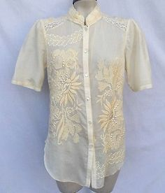 BURNING TORCH EMBROIDERED LACE SILK PLEATED TOP SHIRT BLOUSE SZ L $270