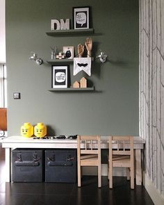 Lovely kids DIY desk and a colour blocked wall. Kids Play Corner, Green Kids Rooms, Small Room Bedroom, Decorating Small Spaces, Baby Room Decor, Fashion Room, Kid Spaces, Boy Room, Room Inspiration
