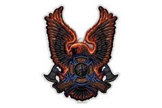 Volunteer Firefighter Fire Rescue Eagle Reflective Decal from Mustang Loot