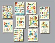 Mothers Day Crafts For Kids Discover Kids Wall Art- inspirational typography mini print set Kids Wall Decor, Kids Room Wall Art, Playroom Ideas, Playroom Quotes, Toddler Playroom, Playroom Art, Playroom Storage, Daycare Ideas, Nursery Decor