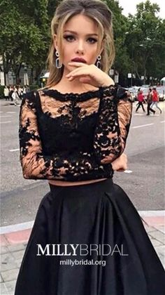 2 pieces prom dresses, Long sleeve prom dress, See through prom dress, dresses for prom, sexy prom dress - High Quality Dress Sale Online Two Piece Formal Dresses, Grad Dresses Long, Long Sleeve Evening Dresses, Prom Dresses Long With Sleeves, Black Prom Dresses, Cheap Prom Dresses, Formal Evening Dresses, Formal Prom, Bride Dresses