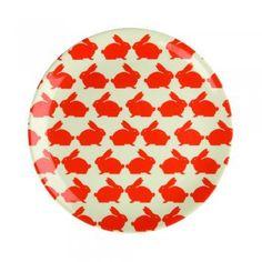 Anorak Kissing Rabbits Melamine Plate - Picnicware from Anorak UK