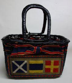 50s Wicker  Needlepoint Handbag Nautical