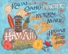 This listing is for a Print of a rare & unique -faux antique original sign by folk artist Mark Z., also known as-Zeke.  This Hawaii State beach
